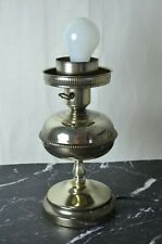 Vintage Silver Metal Color Electrified Table Lamp
