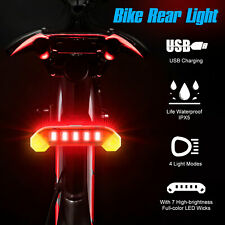 USB Rechargeable LED Bike Tail Light Bicycle Rear Cycling Warning Lamp Safety US