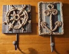 SHIP'S WHEEL & ANCHOR Wood Hook Hanger Sign Set Nautical Beach Home Decor NEW