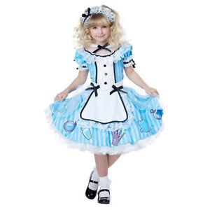 Girls Deluxe Alice In Wonderland Halloween Costume Blue Dress S M L 6 8 10 12