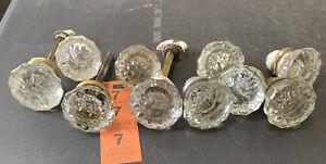 Lot of 8 vintage antique glass Crystal 12 Point Side Door Knobs For Restoration