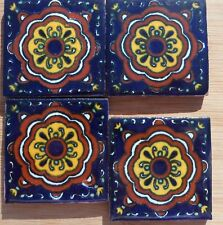"""4~Talavera Mexican Pottery Tile 2"""" Classic Traditional RELOJ Cobalt Blue gold"""