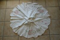 Vintage Embroidery Tablecloth Pink White Roses Floral Lace Fringe Kitchen Decor