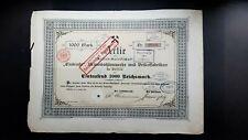 Aktie AG Eintracht Braunkohlenwerke u. Brikettfabriken 1000 RM 1896 Berlin