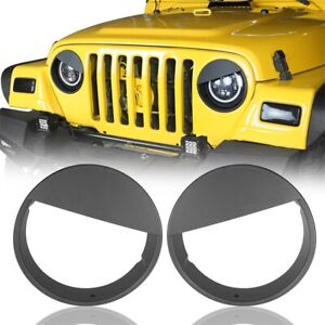 ABS Front Headlight Angry Eyes Style Trim Cover for Jeep Wrangler TJ 97-06