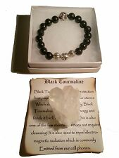Exquisite Black Tourmaline Chrome King David Hearts Spiritual Bead Bracelet