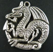 5pcs Tibetan Silver Dragon Charms Pendants 32.5x31mm 9118