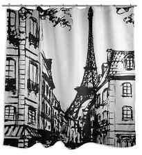 Paris France Shower Curtain, Soft Polyester Fabric, Eiffel Tower Bathroom Colors