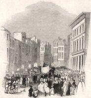 Temperance Festival At Reading. Berkshire, antique print, 1843