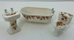 VTG Dollhouse Victorian Porcelain Clawfoot Tub Pedestal Sink ToiletFREE SHIPPING