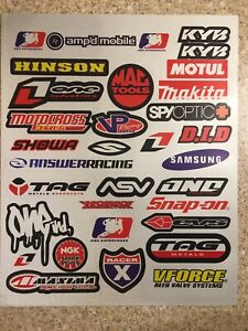 HINSON 2 Pack Reflective Stickers Decals Graphics Kit Sheet Mx Motocross Ktm
