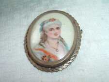 Vintage Hand Painted Limoges Pin Of Victorian Lady A Real Beauty in Gift Box