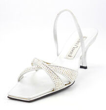 Santini Mavardi Women's Shoes Size 5 US Linda Cross Strap Sandals Silver