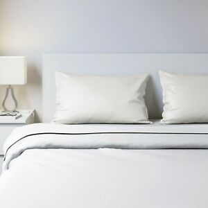 IKEA Nattjasmin Queen Size Sheet & Pillow Case Set, White, 310 Thread Count, NEW