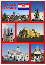 ZAGREB, CROATIA - SOUVENIR NOVELTY FRIDGE MAGNET - NEW - GIFTS - SIGHTS / FLAGS