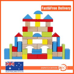 Wooden Blocks Building Block 50pcs Toy Wood Set Kids Motor Skill Round 3yr+