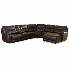DARK BROWN BONDED LEATHER 6-PIECE THEATER SECTIONAL SOFA RECLINER CORNER LOUNGE