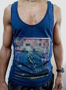 Mens Blue Muscle Racerback Vest Gym Top T Shirt Festival Low Scoop Neck Summer