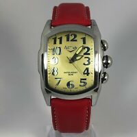 Activa Mens 95494 Swiss Quartz Movement Analog Wristwatch Red Leather Strap