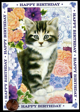 Beautiful Tabby Kitten Cat Flowers Vases - Happy Birthday Greeting Card - New