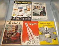 Vintage Home Decor Brochures: Grandma Dexter, Slippers, Afghans, Patterns, Laces