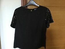 LADIES BLACK EVENING TOP FROM POPPY LUX - SIZE 10 BNWT