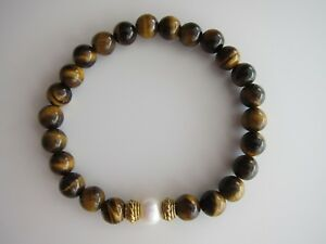 Tiger's Eye & White Freshwater Pearl Bracelets with Tibetan Silver Spacer.