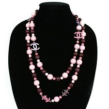 """Chanel 54"""" Long Pearl Necklace CC Pink & Purple Wooden Beads Charms"""