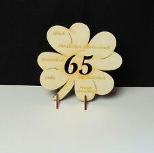 Kleeblatt mit Glückwünsche, Geschenk für Eiserne Hochzeit Jubiläum 65 Holz 11cm