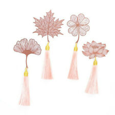 Chinese Style Leaf Flower Metal Bookmark With Tassel For Book Reading Stationery
