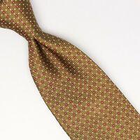 John G Hardy Mens Silk Necktie Gold Red White Dotted Check Weave Woven Tie Italy