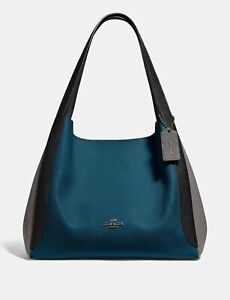 💚 COACH 76088 Colorblock Hadley Hobo Shoulder Bag Tote Purse Handbag~Peacock