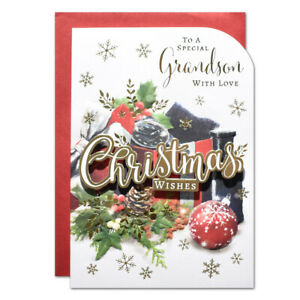 SPECIAL GRANDSON CHRISTMAS CARD ~ GIFT DESIGN ~ QUALITY CARD & NICE VERSE