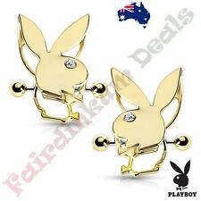 Pair Of Gold Ion Plated Authentic Playboy Bunny Double Tier Nipple Shields