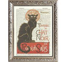 Vintage Art Print Page Black Cat Chat Noir Art Deco Théophile Steinlen D-AD-01