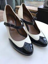 Hobbs Cream Black Leather 1920s Mary Jane Flapper Style Shoes Heels UK4 EU37