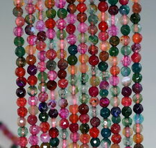 """4MM FIREWORKS FIRE CRACKLE AGATE GEMSTONE MULTI FACETED ROUND LOOSE BEADS 15"""""""