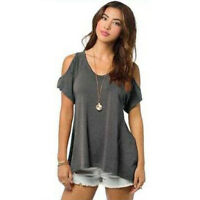 Women's Cold Shoulder Casual Loose Short Sleeve Lace Baggy T-Shirt Tops Blouse