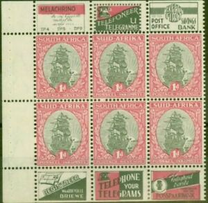 South Africa 1933 Booklet Pane of 6 SG56e Fine Lightly Mtd Mint (Variants Ava