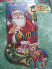 Bucilla Christmas Longstitch Needlepoint Stocking Kit,JOLLY SANTA,Gillum,60780