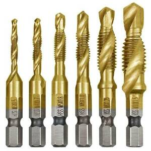 HSS Screw Tap Set Titanium Combination Twist Drill Bit Hex Shank Metal Cutting