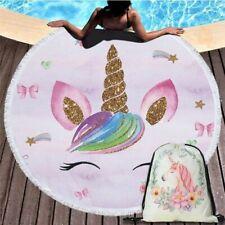 Cartoon Glitter Unicorn Towel Beach Summer Round Shape Blanket Woman Girl Bag