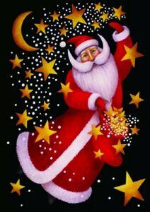 Toland Celestial Santa 12.5 x 18 Christmas Winter Star Moon Garden Flag