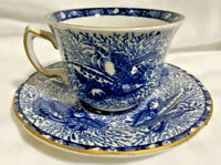 Torquay Mottahedeh Winterthur Blue Gold Trim Sea Shell Cup & Saucer Reproduction