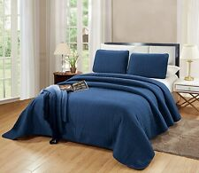 3 Pc King Size Catena Quilt Set Navy Blue Bedspread Microfiber Coverlet