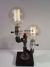 Loft Vintage Industrial Water Pipe Table Light Edison Desk Accent Wood Lamp Bulb