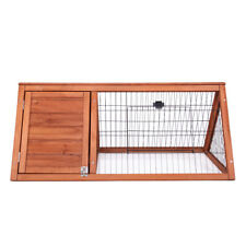 Outdoor Triangular Wooden Chicken Coop Bunny Rabbit Hutch House with Run