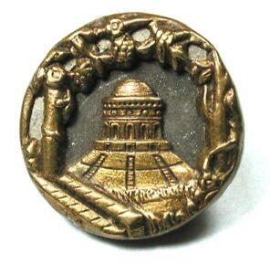 """Antique Brass Button Pretty Temple Scene - 1/2""""  1890s"""