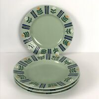 "Mikasa Studio Nova Flora Green 11"" Dinner Plates Lot of 4 Oven to Table"