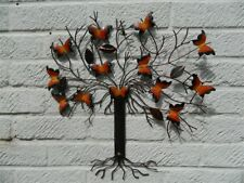 Mariposa Pared Arte Adorno Árbol De Mariposa-Metal-Mariposas Naranja